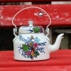 Hand Painted Aluminum Teapot for Home Decoration