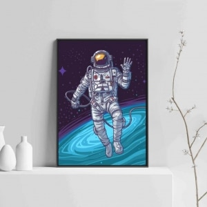 Astronaut Print art with Wooden Frame