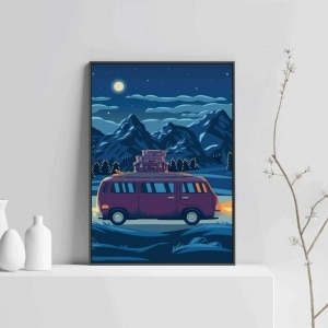 Drive landscape modern print art with wooden frame