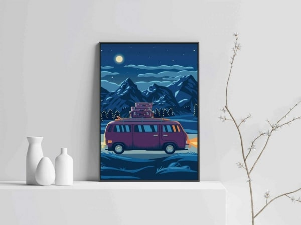 Drive landscape modern print art with wooden frame