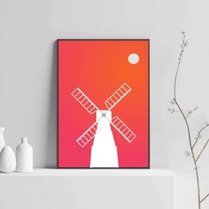 windmill modern art with wooden frame
