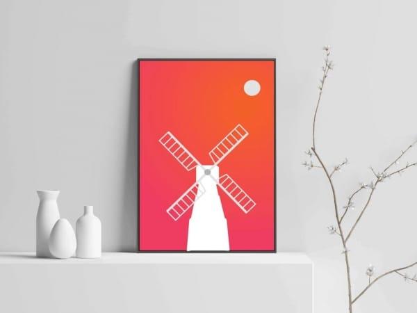 windmill modern art with wooden frame