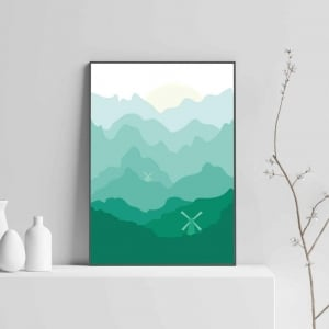 Landscape Modern Art With handmade wooden frame