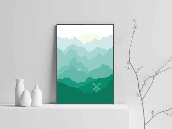 Landscape Modern Art With handmade wooden frame