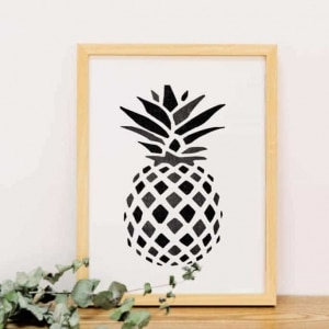 Pineapple art with handmade wooden frame