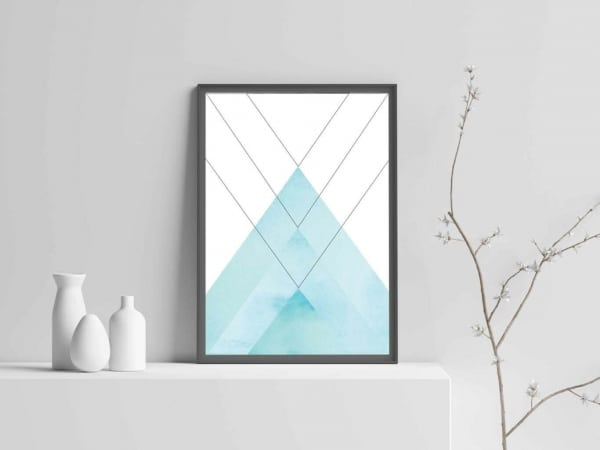pattern modern print art with Wooden Frame