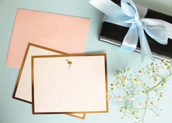 Flamingo Monogram Flat Card + Envelopes – Set 0f 5 2