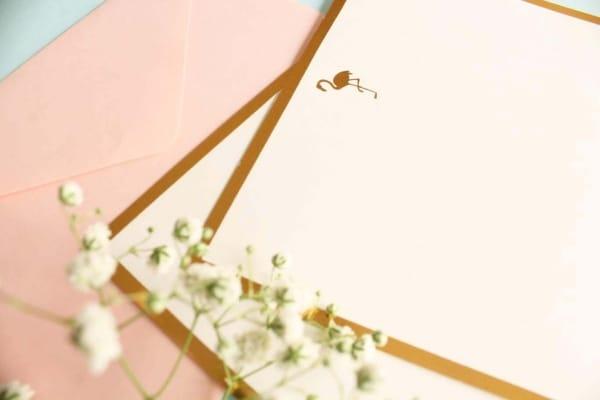 Flamingo Monogram Flat Card + Envelopes – Set 0f 5 3