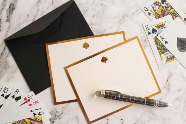 Spade Monogram Flat Card + Envelopes – Set 0f 5 2