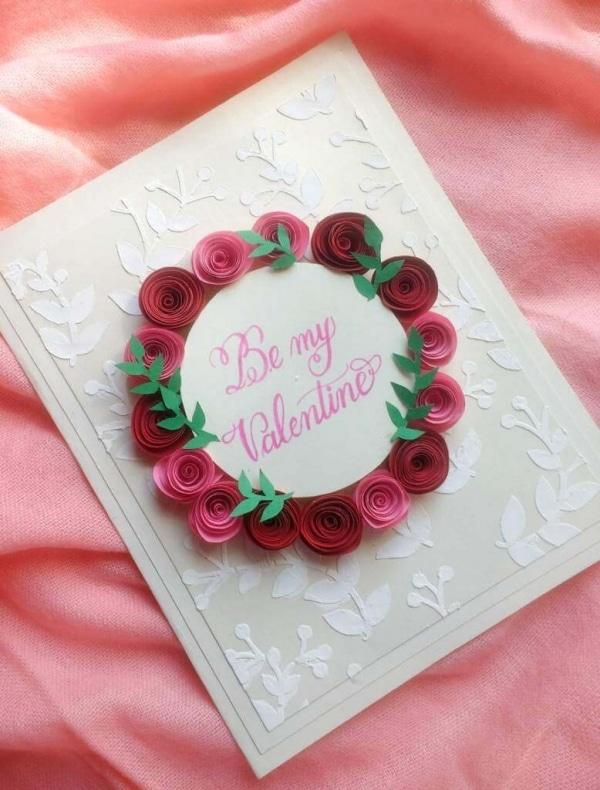 Rose Wreath Valentine's Day Card