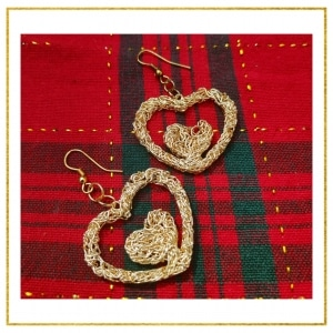 Golden Heart Earrings, Unique Gifts For her