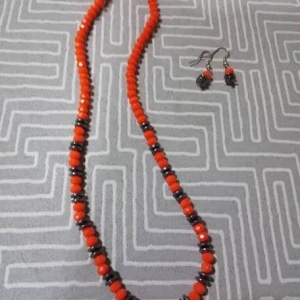 Orange With Gun Metal Oval Beads