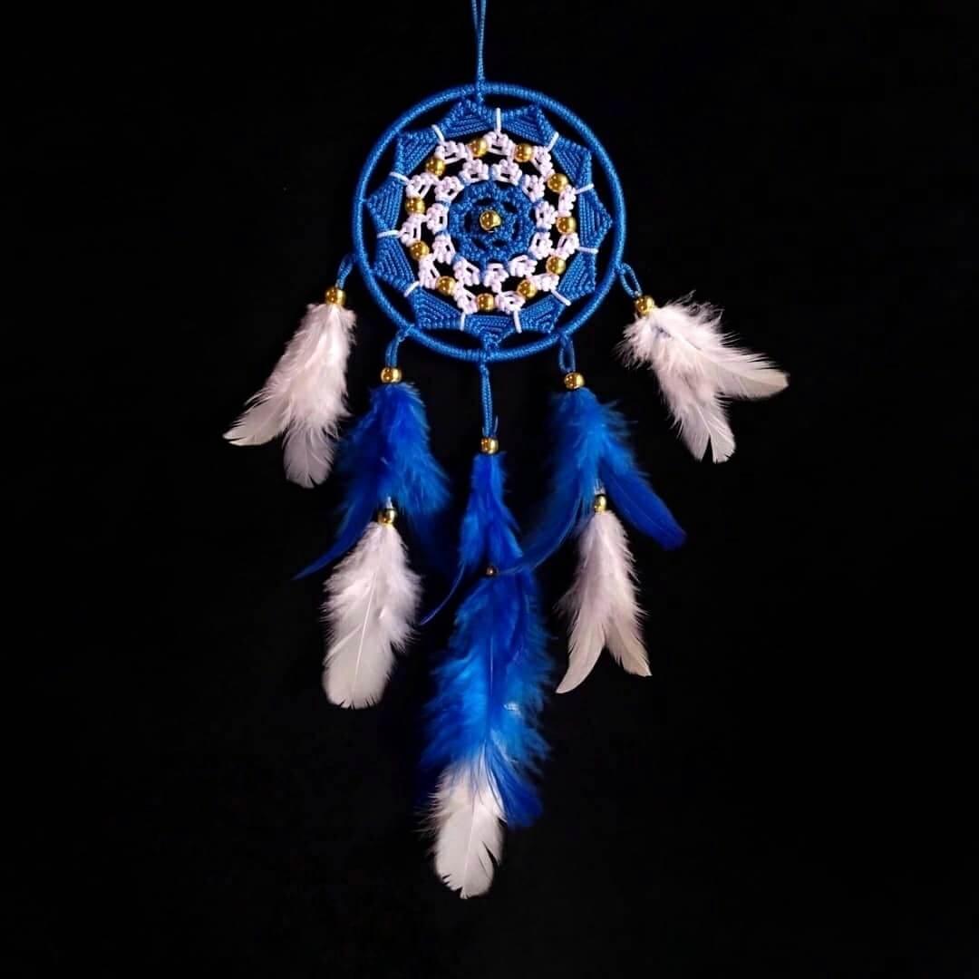 Blue and White Sun Spiral Dreamcatcher