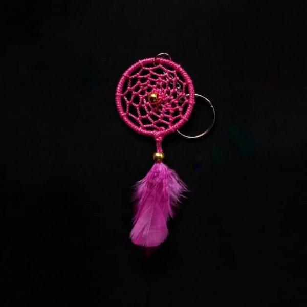 Dark Pink Web Keychain
