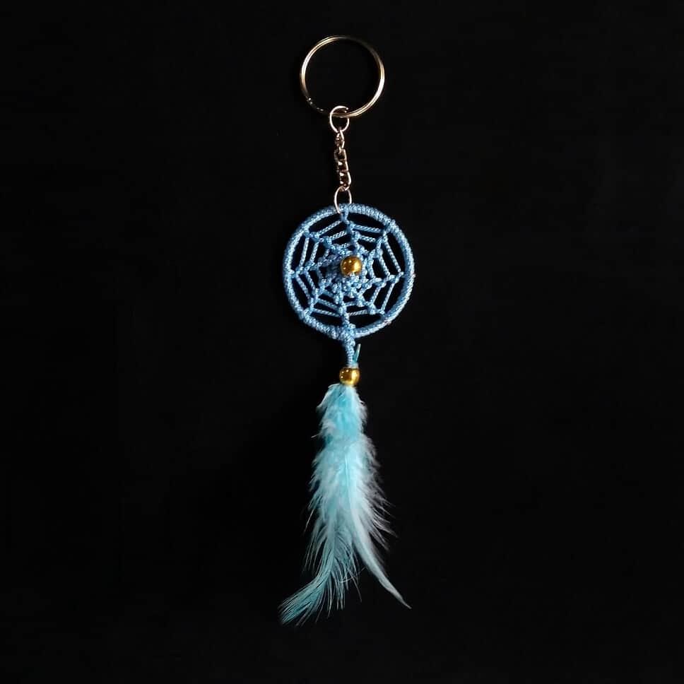 Light-Blue Spiral Keychain