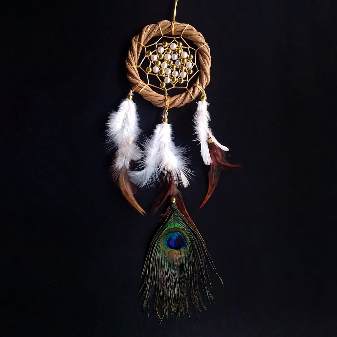 Paper Wreath-Peacock Feathered Dreamcatcher