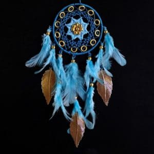 Poseidoni Blue Dreamcatcher With Gold Leaves