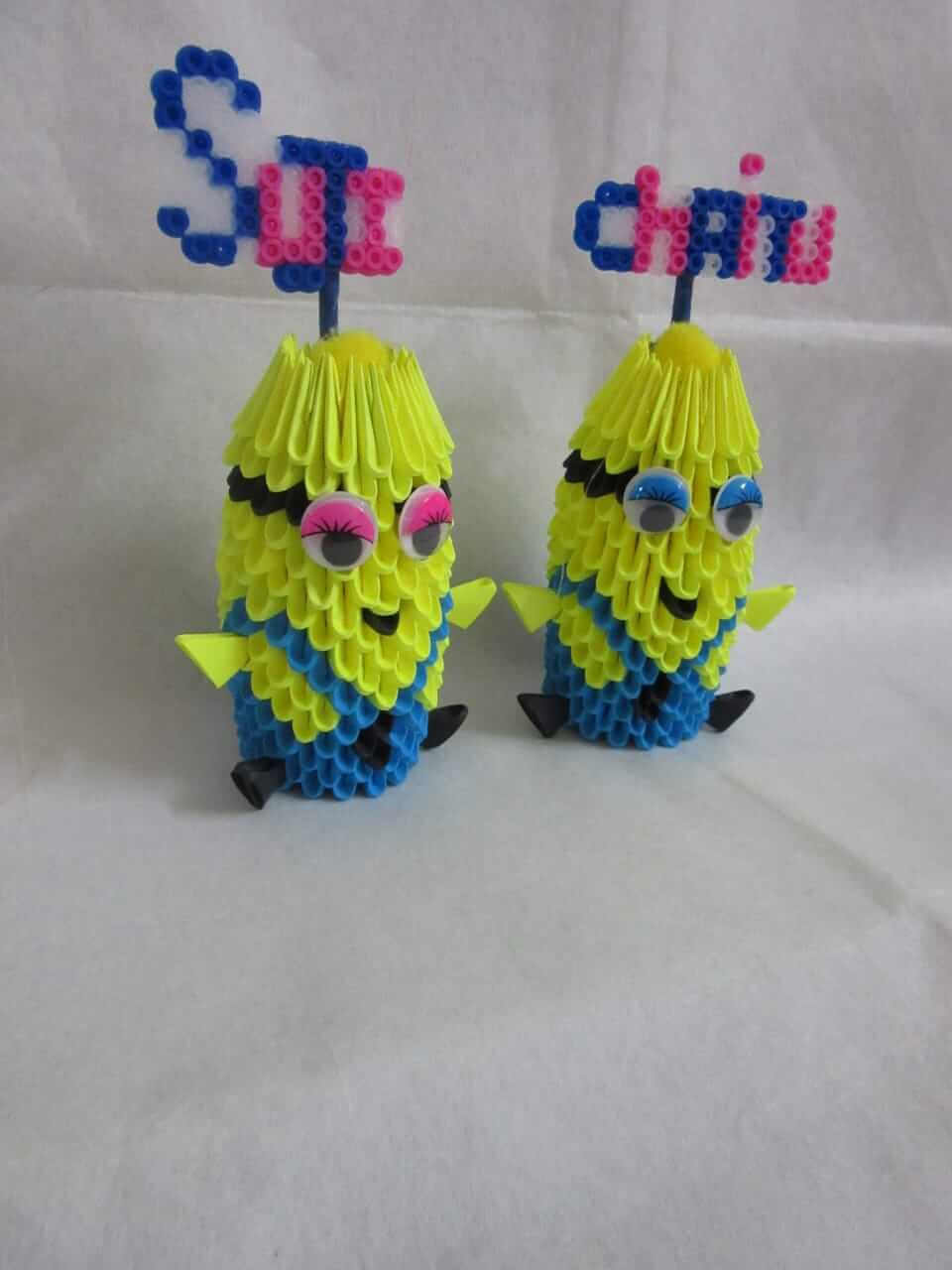 3D ORIGAMI AND BEADS MINION PAIR