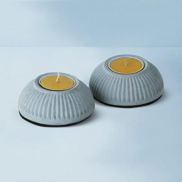 Wonderwheelstore | 03 | Set Of 2 Indilight Concrete Candle Holders Gmac011 1