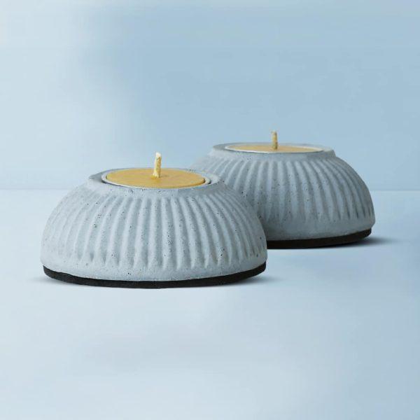Wonderwheelstore | 03 | Set Of 2 Indilight Concrete Candle Holders Gmac011 2