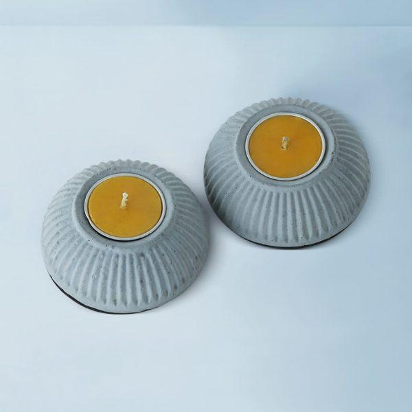 Wonderwheelstore | 03 | Set Of 2 Indilight Concrete Candle Holders Gmac011 3