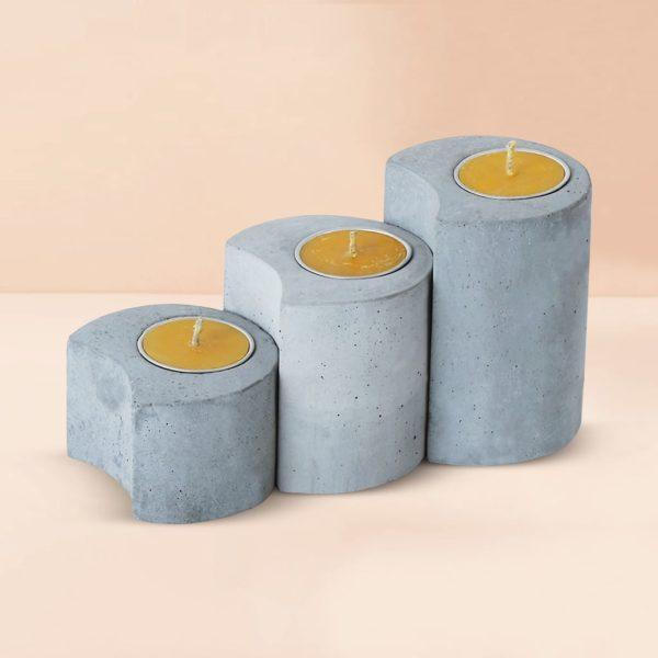Wonderwheelstore | 03 | Set Of 3 Linelight Concrete Candle Holders Gmac012 1