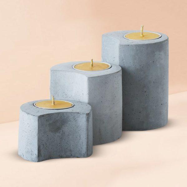 Wonderwheelstore | 03 | Set Of 3 Linelight Concrete Candle Holders Gmac012 2