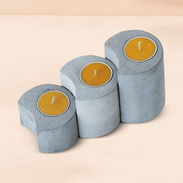 Wonderwheelstore | 03 | Set Of 3 Linelight Concrete Candle Holders Gmac012 3