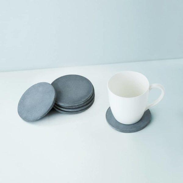 Wonderwheelstore | 03 | Set Of 6 Cion Grey & Beige Concrete Coasters Gmac014 2