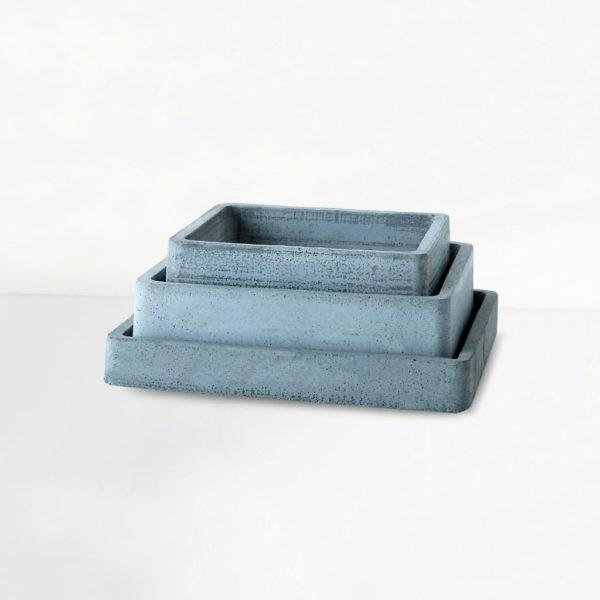 Wonderwheelstore | 04 | Set Of 3 Concrete Handmade Square Trays Gmor013 014 015 1