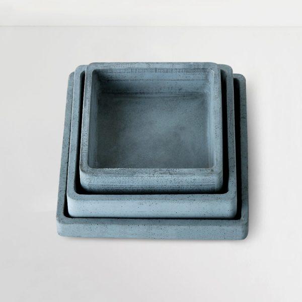 Wonderwheelstore | 04 | Set Of 3 Concrete Handmade Square Trays Gmor013 014 015 2