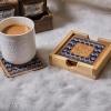 Tea Coasters Blue Zig Zag