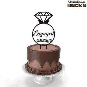Wonderwheelstore | 27 | Acect002 Engaged Personalised Caketopper