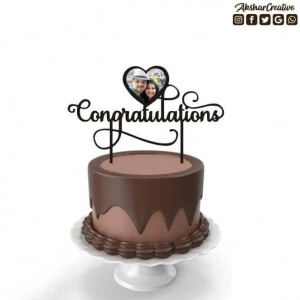 Wonderwheelstore | 27 | Acect006 Congratulations With Pic Personalised Caketopper (1)