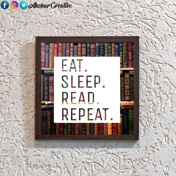 Wonderwheelstore | 28 | Aceqmsf009 Eat Sleep Read Repeat Stencil Frame
