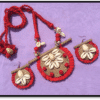 Unique design of Neckpiece with Jute and Kaudi with Earrings set