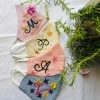 Personalized Pastel shades with Initial Embroidery Masks ( Set of 5)